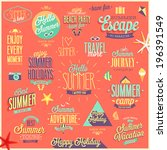 summer and travel set   labels... | Shutterstock .eps vector #196391549