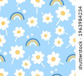 seamless pattern with daisy...   Shutterstock .eps vector #1963984234