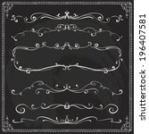 set of vintage vector dividers... | Shutterstock .eps vector #196407581