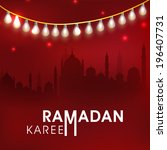 Beautiful greeting card design with silhouette of mosque in shiny night background for Ramadan Kareem celebrations.