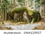 Isolated infantry casemate built in woods and mountainous terrain in Eagle (Orlicke) Mountains, Czech Republic. Czechoslovak pre-war military border fortification system constructed from 1935 to 1938
