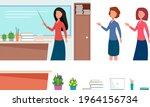 the teacher near the school...   Shutterstock .eps vector #1964156734