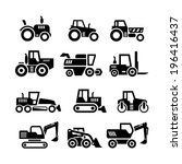 set icons of tractors  farm and ... | Shutterstock .eps vector #196416437