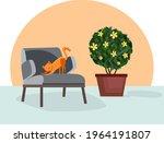 ginger cat on the armchair....   Shutterstock .eps vector #1964191807