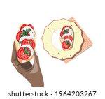 dark skin hand holding sandwich ... | Shutterstock .eps vector #1964203267