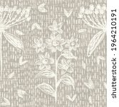 seamless french taupe floral... | Shutterstock . vector #1964210191