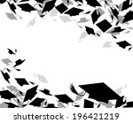 background of graduate caps  | Shutterstock .eps vector #196421219