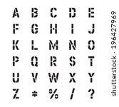 stencil vector font | Shutterstock .eps vector #196427969
