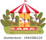 carousel with three colored... | Shutterstock .eps vector #1964286124
