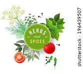 highly detailed herbs and... | Shutterstock .eps vector #196439507
