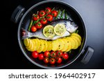 Raw Sea Bream Fish On A Pan...