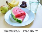 assorted fruits and slices of... | Shutterstock . vector #196440779