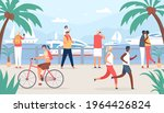 people walk on sea quay. family ... | Shutterstock .eps vector #1964426824