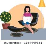 girl with laptop. comfortable...   Shutterstock .eps vector #1964449861