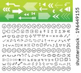 thin line arrow icons set  | Shutterstock .eps vector #196449155