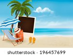 beach with a palm tree  a... | Shutterstock . vector #196457699