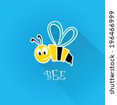 Vector Bee Flat Icon With Long...