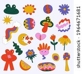 vector hippie stickers from the ... | Shutterstock .eps vector #1964671681