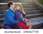 romantic young couple embracing ... | Shutterstock . vector #196467755