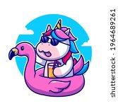 cute unicorn summer wearing... | Shutterstock .eps vector #1964689261