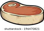 a thick cartoon steak  ready to ... | Shutterstock .eps vector #196470821