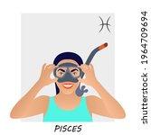 horoscope for pisces. pisces... | Shutterstock .eps vector #1964709694
