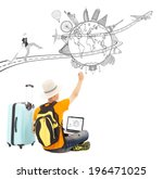 backpacker draw a travel trip... | Shutterstock . vector #196471025