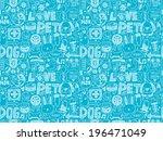 seamless doodle pet pattern | Shutterstock .eps vector #196471049