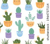 cute succulents cactus with...   Shutterstock .eps vector #1964737114