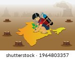 a kid with oxygen cylinder... | Shutterstock .eps vector #1964803357
