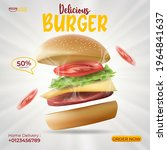 delicious burger ads poster... | Shutterstock .eps vector #1964841637