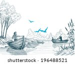 Fisherman in boat sketch, delta, river or sea background in vector - stock vector