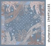blue scarf pattern with flower... | Shutterstock .eps vector #1964916181