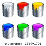 paint buckets with color paint.