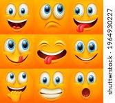 cartoon faces. funny face...   Shutterstock .eps vector #1964930227