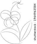 flower line art freehand style... | Shutterstock .eps vector #1964963584