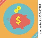piggy bank   saving money icon  ... | Shutterstock .eps vector #196497401