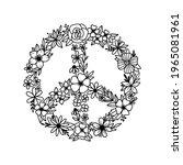 Floral Peace Symbol. Peace Sign....