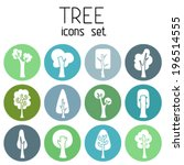 set of 12 round icons. white... | Shutterstock .eps vector #196514555