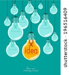 creative light bulb idea... | Shutterstock .eps vector #196516409