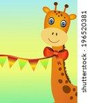 smiling giraffe illustration... | Shutterstock .eps vector #196520381