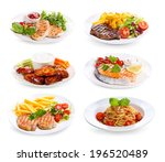 plates of various meat  fish... | Shutterstock . vector #196520489