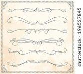 set of vintage vector dividers  ... | Shutterstock .eps vector #196527845