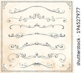 set of vintage vector dividers  ... | Shutterstock .eps vector #196527977