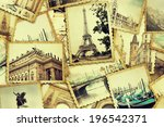 collage of old photo. traveling ... | Shutterstock . vector #196542371