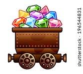 iron mine cart with diamonds...