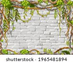 wall  branches liana  ivy....   Shutterstock .eps vector #1965481894