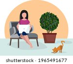 girl with laptop. comfortable...   Shutterstock .eps vector #1965491677