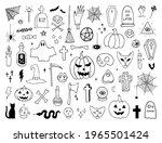vector set of halloween doodle... | Shutterstock .eps vector #1965501424