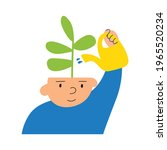 boy to water plant in his head. ... | Shutterstock .eps vector #1965520234